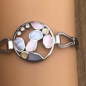 Whimsical two strand 925 bracelet bezel MOP + gems